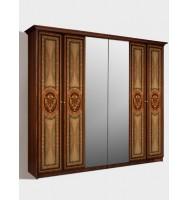 Шкаф 6-ти дв. для платья и белья (2 зеркала)